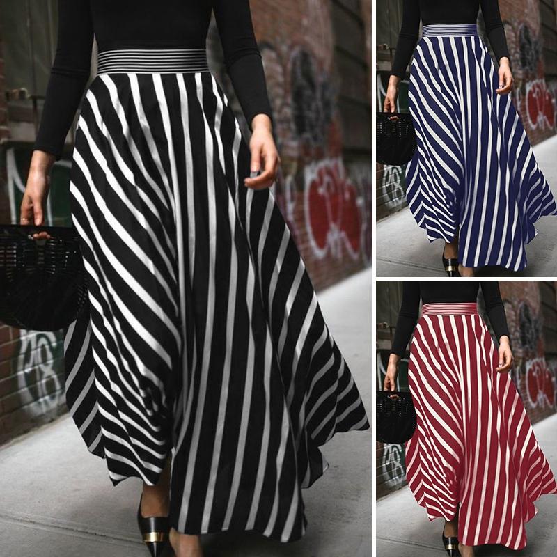Chân Váy Dài Lưng Cao Họa Tiết Kẻ Sọc Vintage Thời Trang Cho Nữ