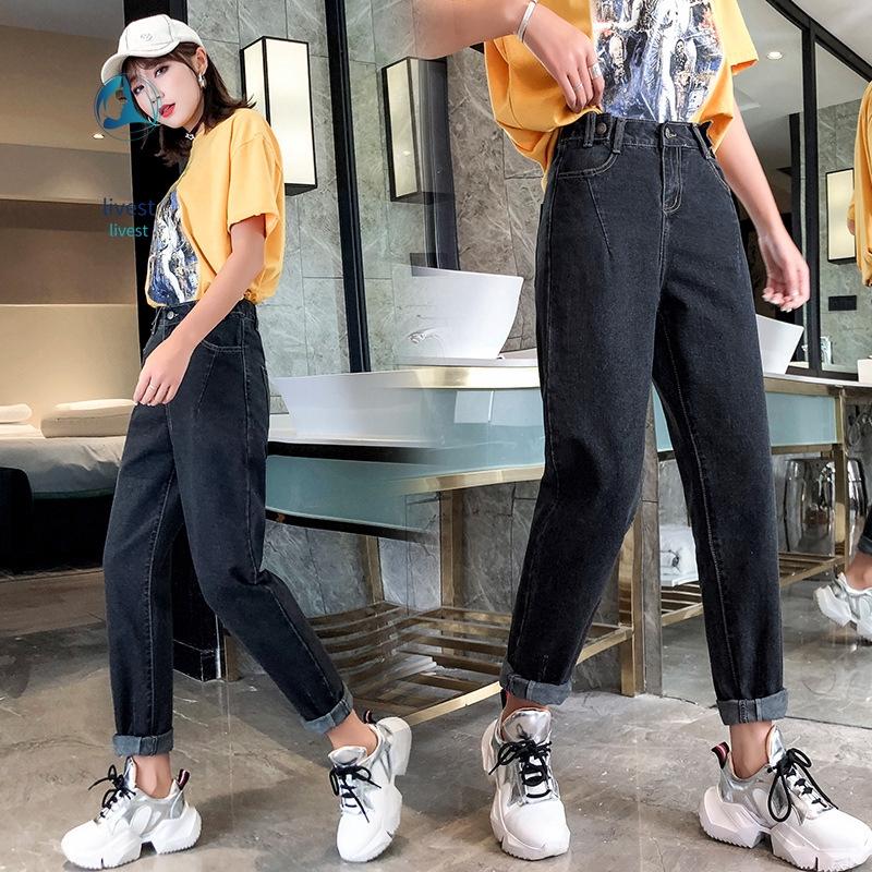 Quần jeans nữ lưng cao xé gấu thời trang