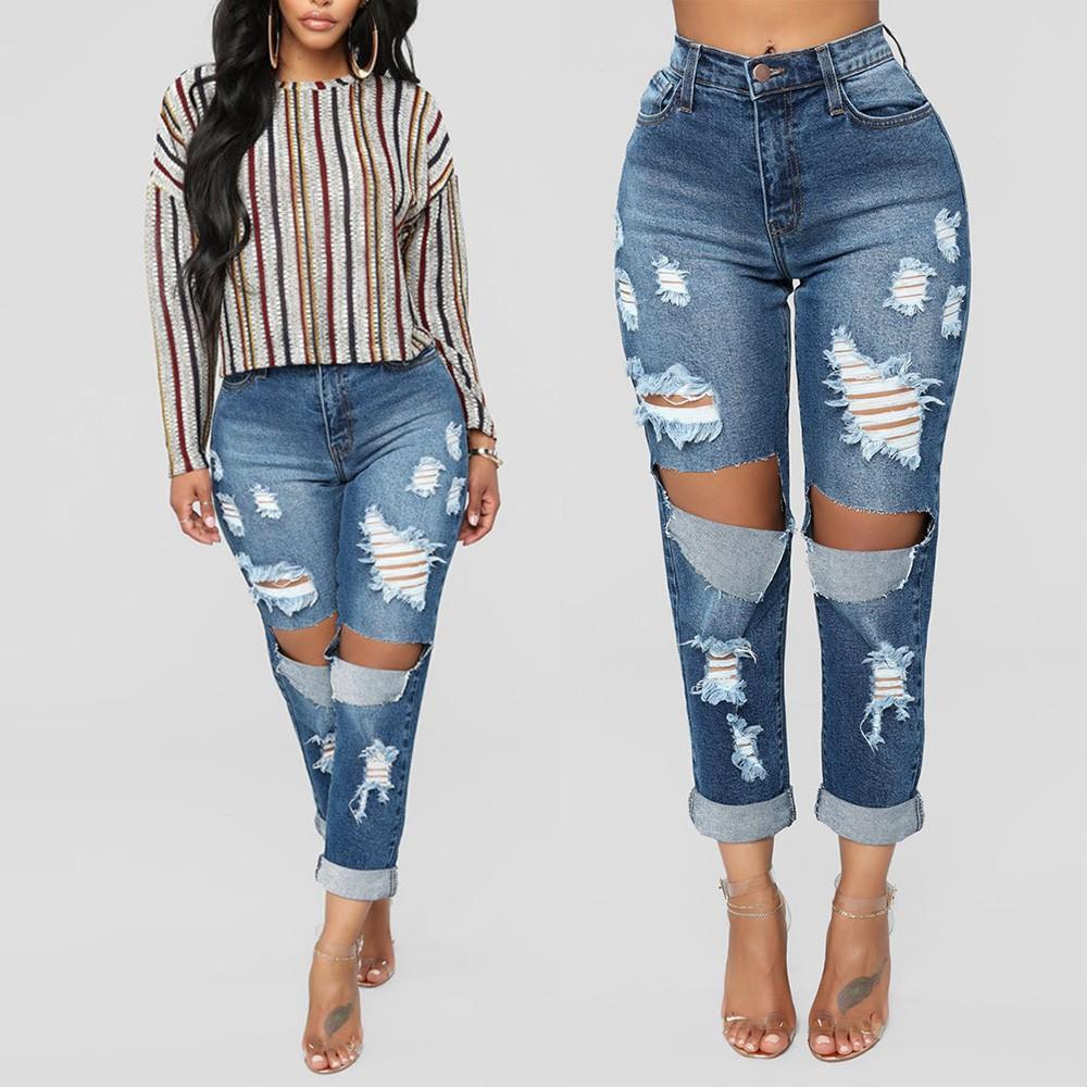 Quần Jeans rách lưng cao thiết kế ôm sát tôn dáng