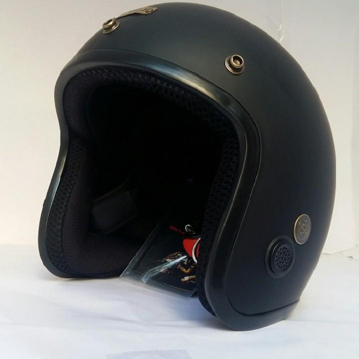 Mũ bảo hiểm phượt NAPOLI chính hãng - SH cao cấp đen lót đen