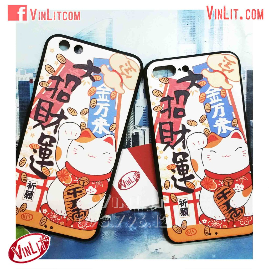 Ốp lưng Iphone 7 Plus, Iphone 8 Plus Ốp lưng silicon mèo thần tài may mắn - chính hãng My Colors I7P21089