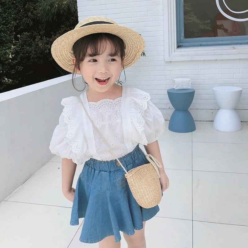 Set Áo Thun Tay Ngắn + Chân Váy Denim Xinh Xắn Cho Bé Gái