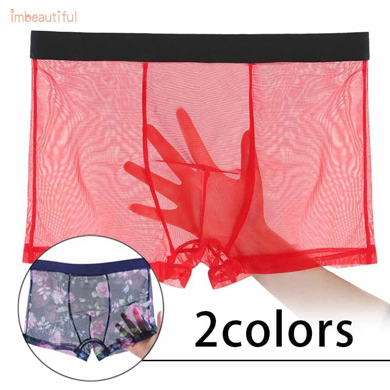 Hình ảnh Men's Male Boxer Underwear Underpants Sexy Trunks Lingerie Knickers Bulge pouch Men's Male Transparent Plus size