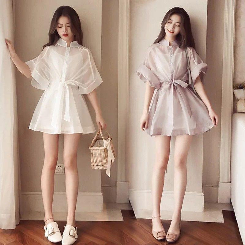 Set Đầm Thời Trang 2020 Áo Thun Tay Ngắn Kèm Chân Váy Dài Kiểu Dáng Dễ Thương Cho Nữ
