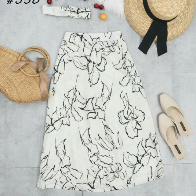 Áo thun-Chân váy Lụa vẽ cực sang chảnh-Hình Thật Tại Shop