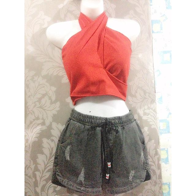 Set áo katun+quần jean ngắn siêu cute