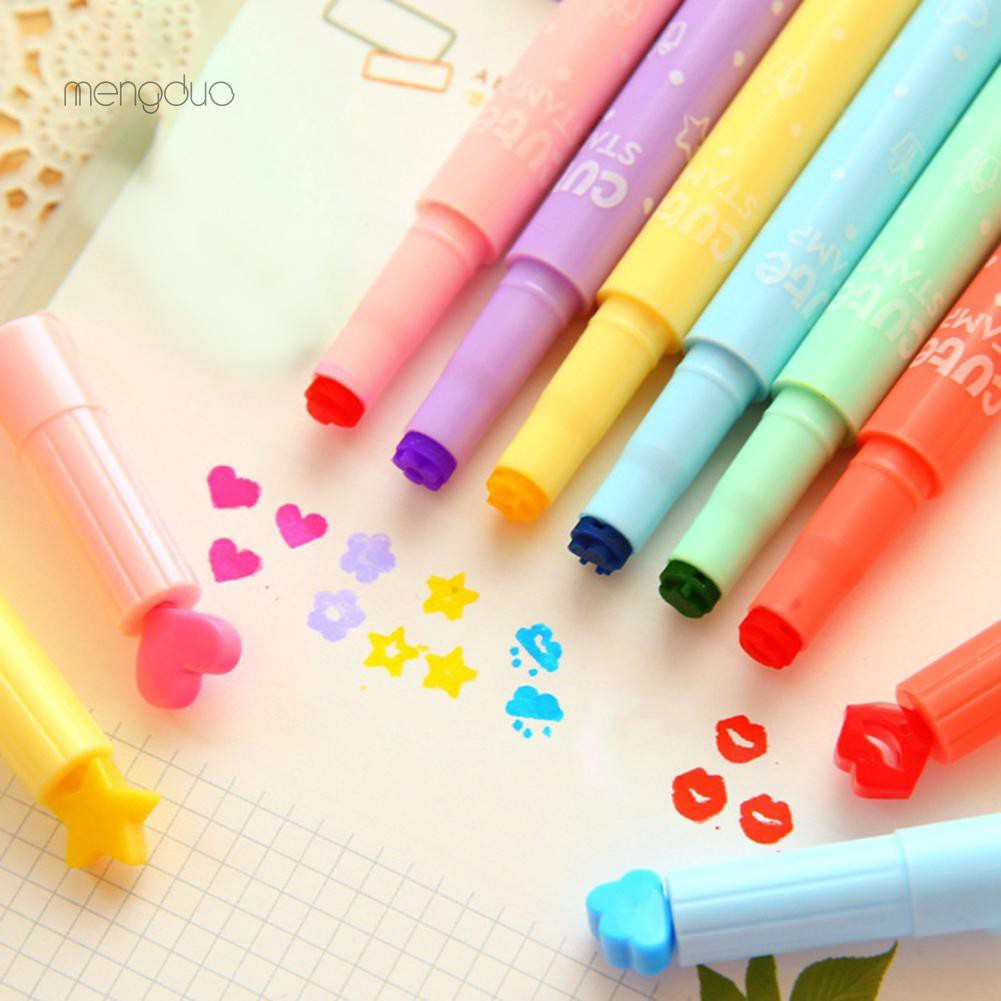 MD6Pcs Cute Candy Color Stamp Highlighters Pen Creative Marking Pen Stationery