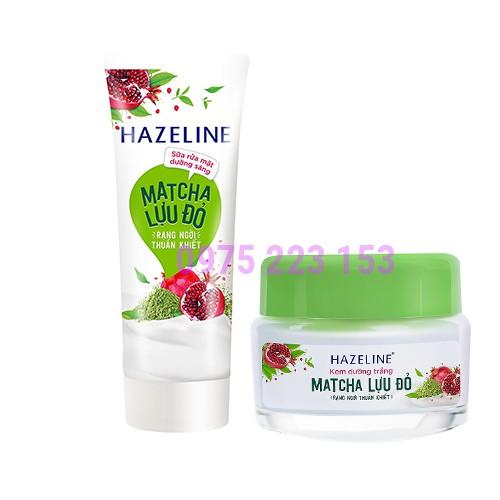 Combo Bộ Kem dưỡng trắng da và sữa rửa mặt Hazeline Matcha Lựu Đỏ