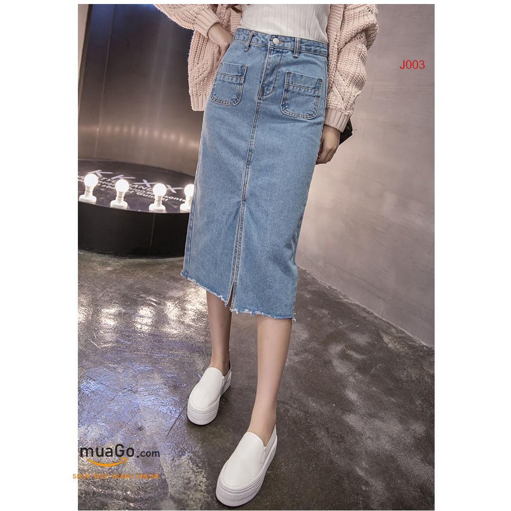 Chân Váy Jean dài chẻ, CHÂN VÁY DENIM ❤️Tặng Quà VIP❤️Ưu Đãi Lớn-Hôm Nay - Đẹp, Phong cách trẻ trung,sang trọng