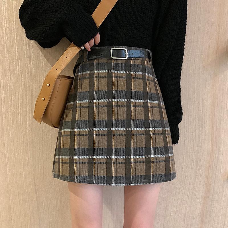 Chân Váy Chữ A Lưng Cao Họa Tiết Sọc Caro Phong Cách Retro Hàn Quốc