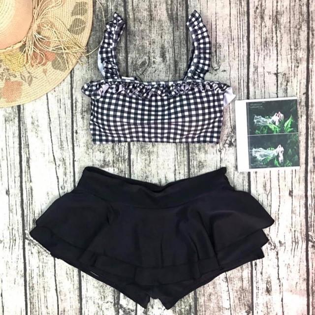 [CÓ SẴN - HÀNG CHUẨN] Bikini - Bộ Đồ Bơi Đi Biển Áo Carô, Chân Váy 2 Tầng Bánh Bèo