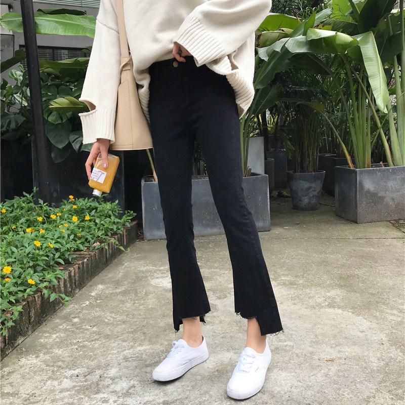 Quần Jeans Lưng Cao Ống Loe Thời Trang Mùa Đông Cho Nữ