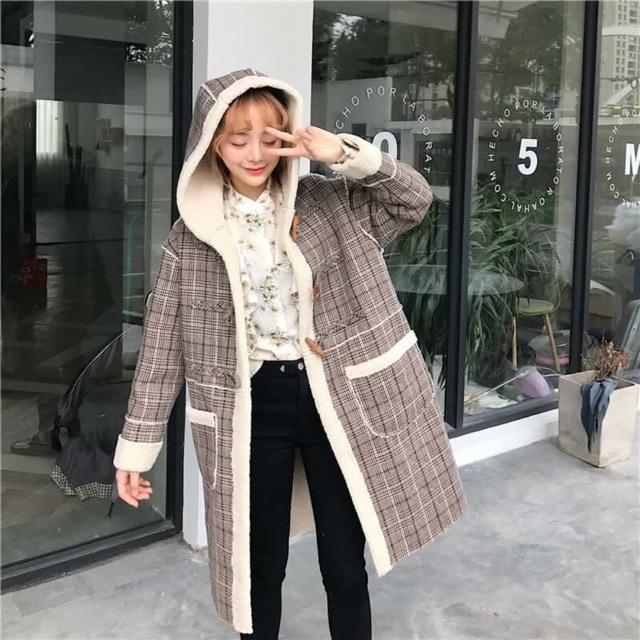 Áo dạ lông cừu Hàn xẻn