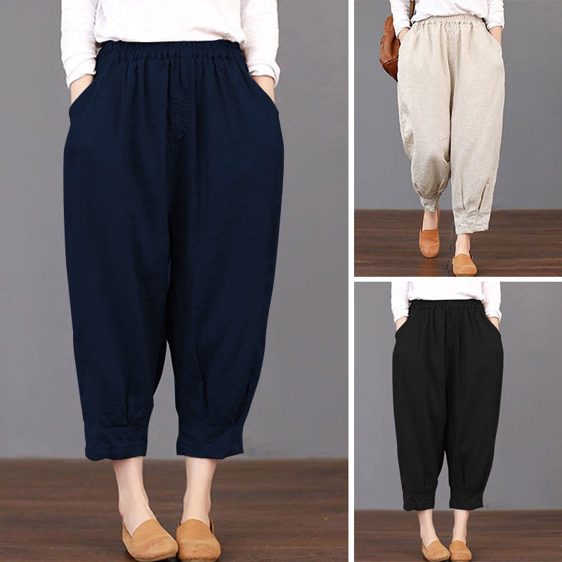 Harem Pants Trousers Casual Baggy Large Size Cotton Linen Pockets Vintage 2018