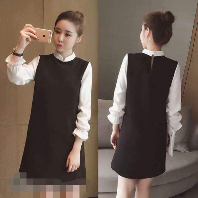Váy umi dài tay co dãn 4chiều mang lại sự thoải mái cho mẹ bầu bí .vải trắng voan nhẹ điệu đà pha đen