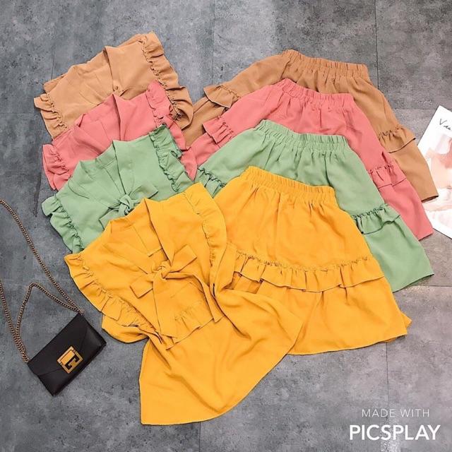 Set áo bèo thắt nơ chân váy nữ