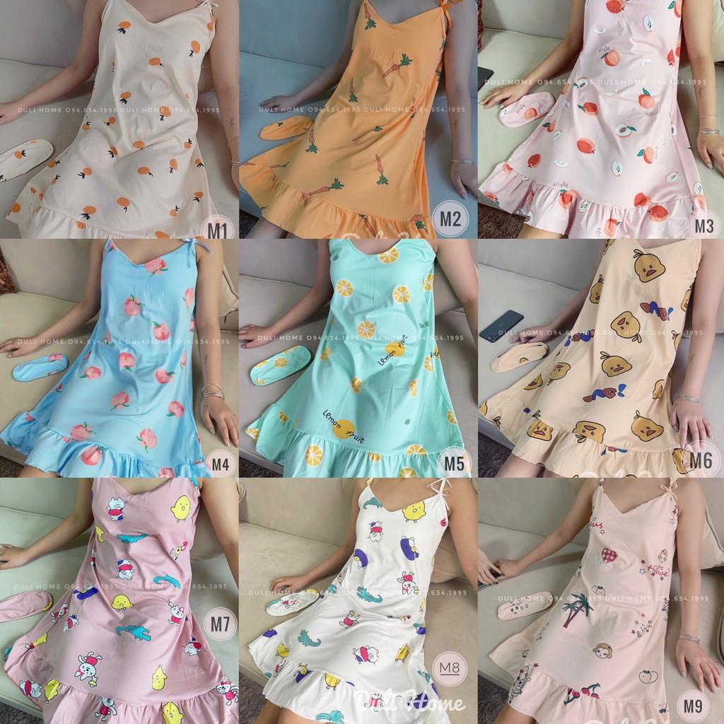 Váy/ đầm ngủ 2 dây siêu cute ( kèm bịt mắt)