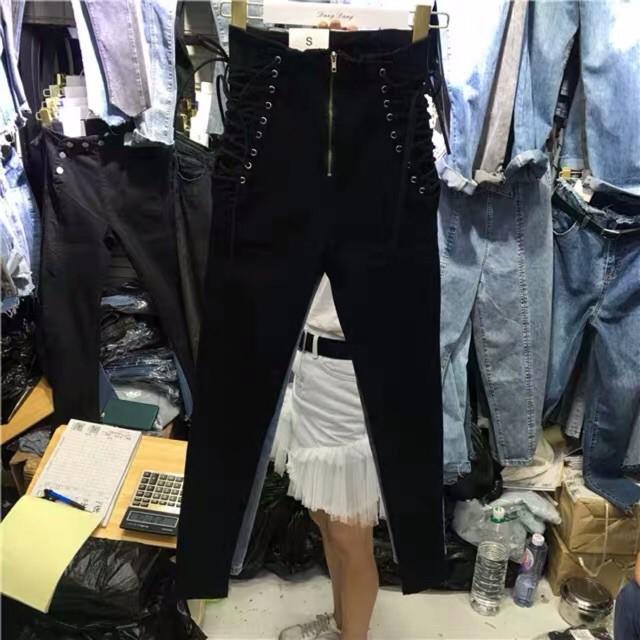 (Order) S-5XL Quần jeans đan dây hông cạp cao xanh/đen