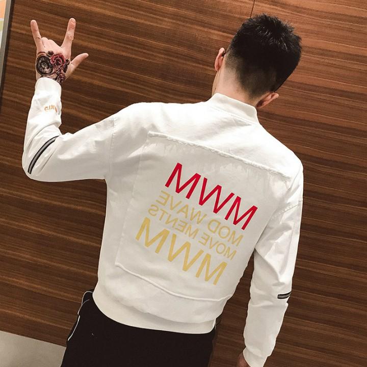 Thời Trang Nam, áo khoác bomber in chữ MWM, RL1465 - TRẮNG