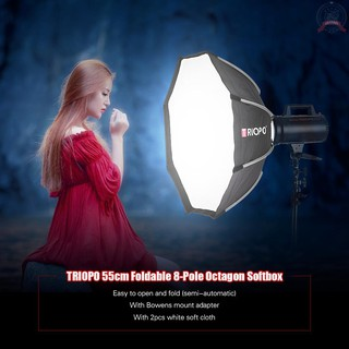 J&F TRIOPO 65cm Foldable 8-Pole Octagon Softbox with Soft Cloth Carrying Bag Bowens Mount for Studio Strobe Flash Light