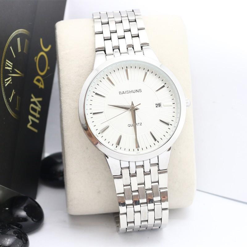 Đồng hồ nam nữ Baishuns màu trắng sang trọng
