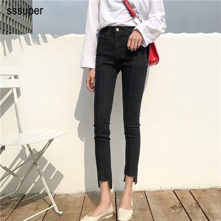 Quần jeans nữ ống đứng lưng cao kiểu Hàn