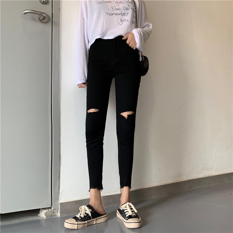 Quần jeans lưng cao phong cách Hàn Quốc