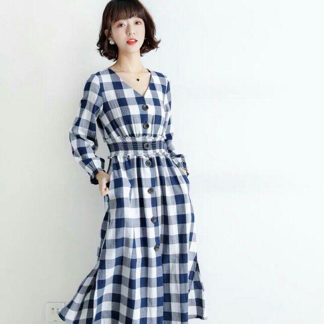 Đầm caro xanh tay dài, đầm dáng dài xẻ tà, đầm caro tay dài xẻ tà, đầm suông dáng dài