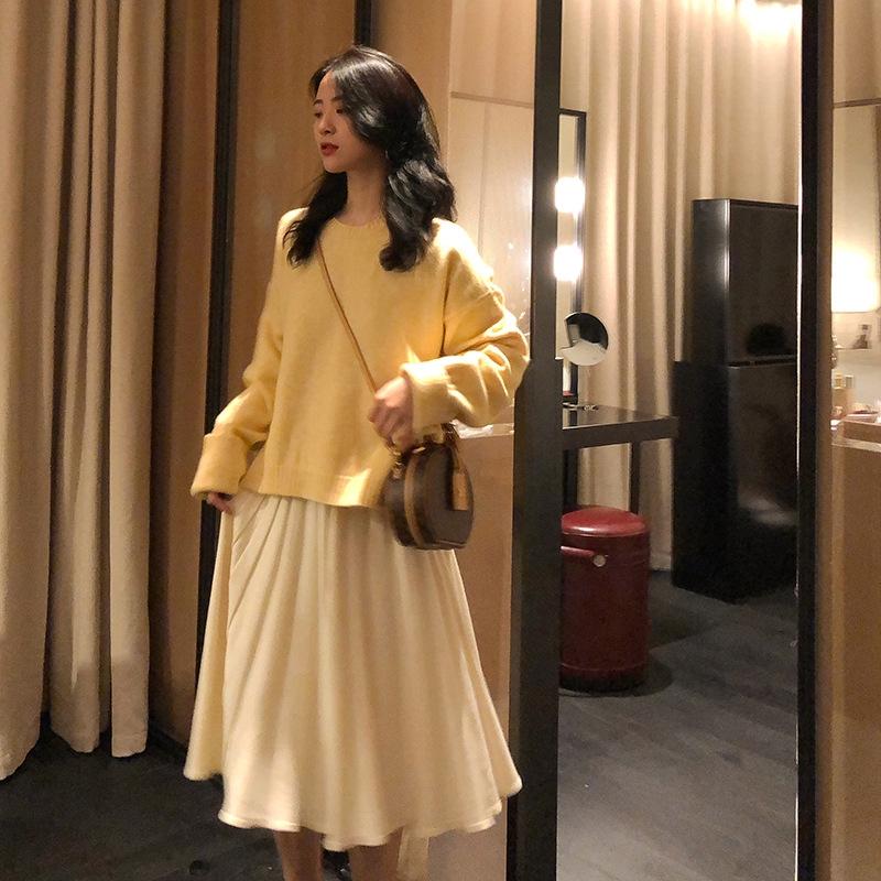 set đầm dài tay cổ tròn+áo khoác cộc tay cổ chữ v thời trang nữ