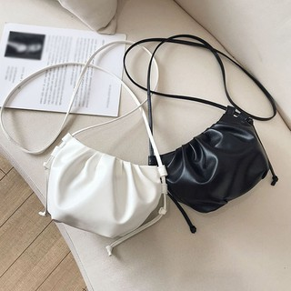 Women Korean Style Simple Soft Ruffled Solid Color Cloud Shoulder Bag