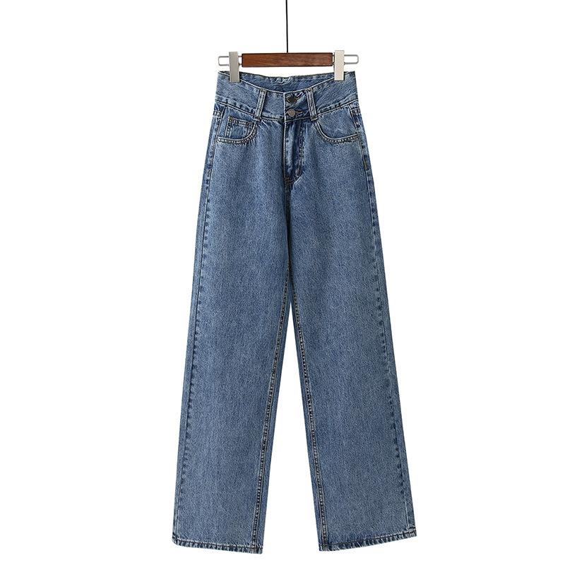Quần Jean Lưng Cao Ống Rộng Thời Trang 2020