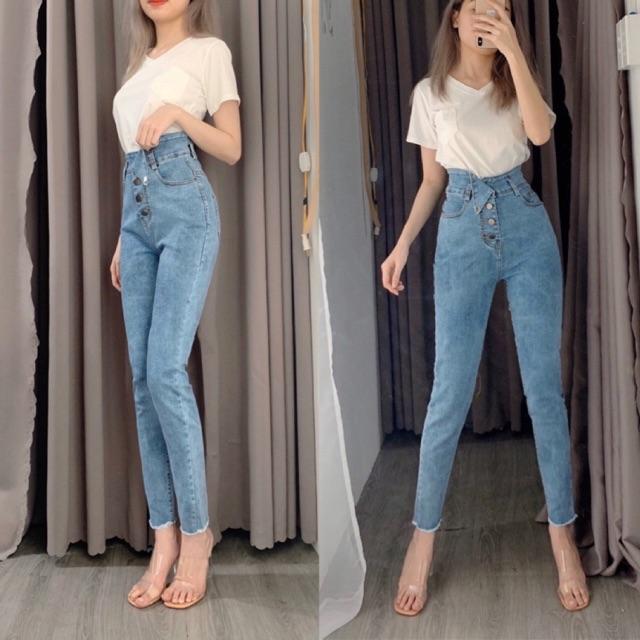 Quần jean co giãn lưng cao (3 mẫu)