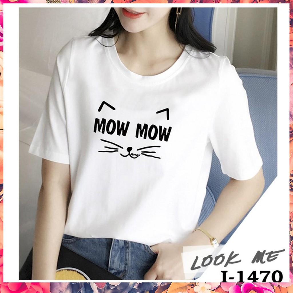 ✓I1470- áo thun tay ngắn in họa tiết con mèo siêu dễ thương  Áo Thun Phông Chất Cotton Bán Chạy ✨