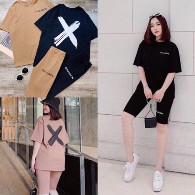 Set quần lửng + áo thun Collu chữ X