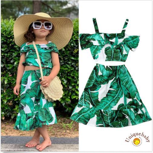 Set áo thun + chân váy dài dễ thương cho bé gái
