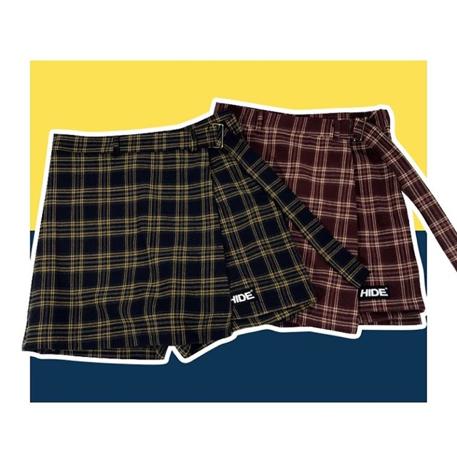 Belted check skirt from HIDE