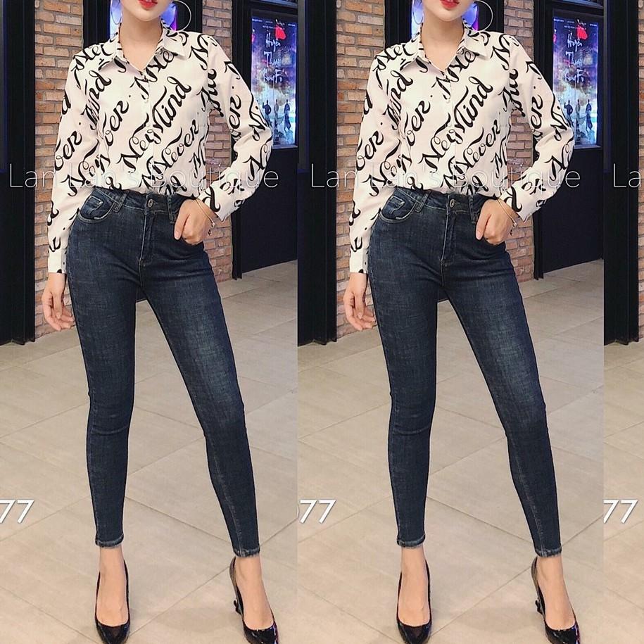 quần jean nữ lưng cao xanh xước trơn 003 r454