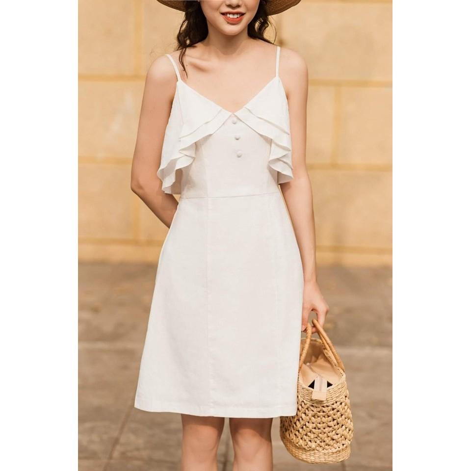[Siêu hot] Đầm hai dây bèo xinh - đầm nhún bèo - đầm trắng - đầm dự tiệc