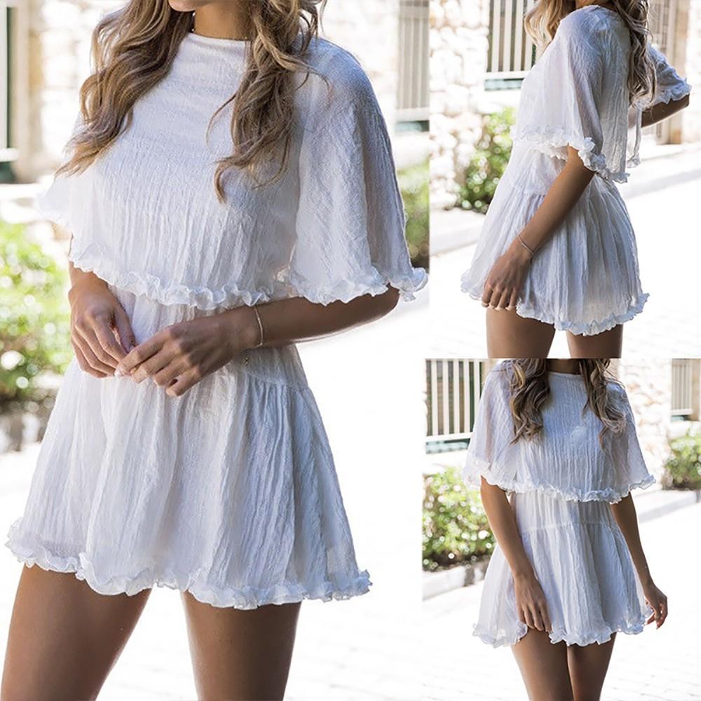 Bộ đầm tay ngắn rũ màu trắng trơn phong cách boho thời trang nữ đi dự tiệc