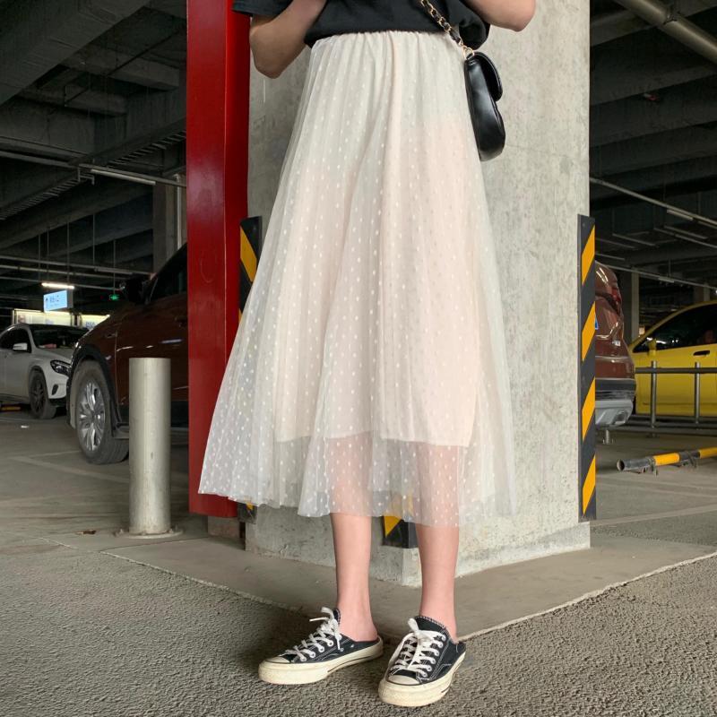 Chân Váy Lưng Cao Phối Lưới Họa Tiết Chấm Bi Thời Trang Hàn Quốc
