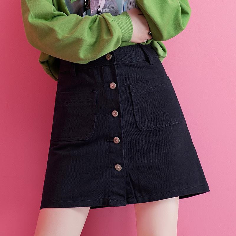 Chân váy denim lưng cao dáng chữ a thời trang phong cách