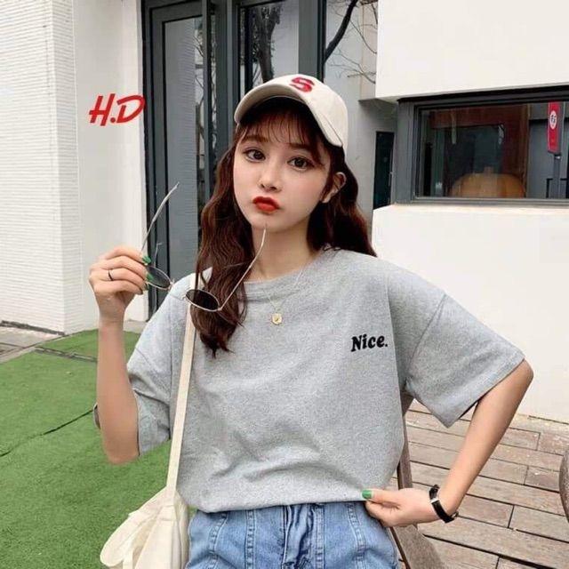 Áo phông thêu chữ NICE