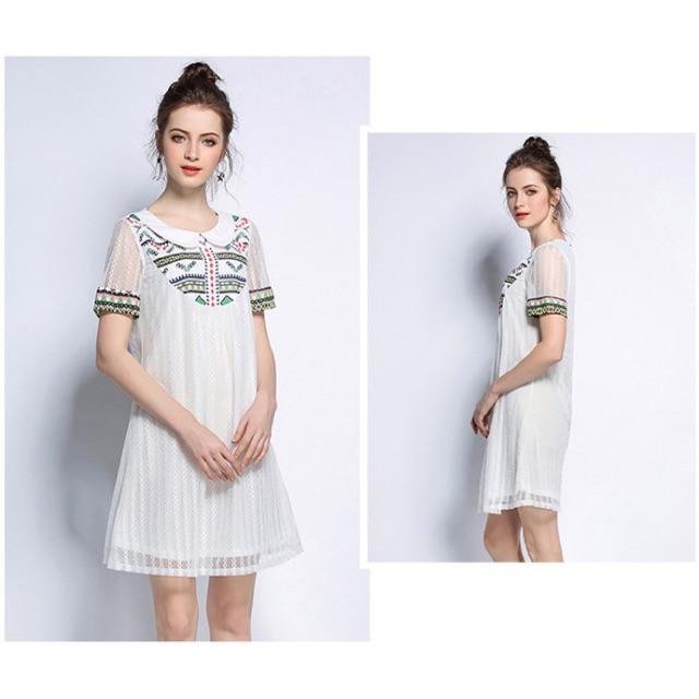 Đầm big size suông màu trắng lập thể size đại 5xl 85-100kg