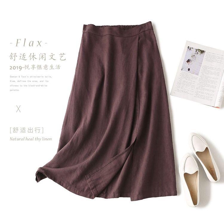Chân Váy Chữ A Dáng Rộng Vải Lanh Cotton Màu Trơn Lưng Thun Size M-3xl