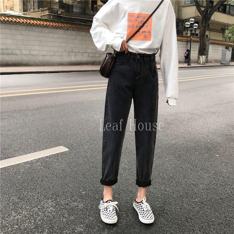 Quần jean đen dài có nút gài bên