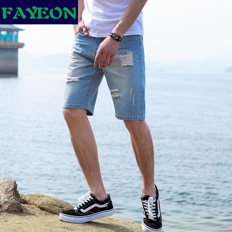 Quần jean ngắn phối vải cào phong cách retro nhật bản