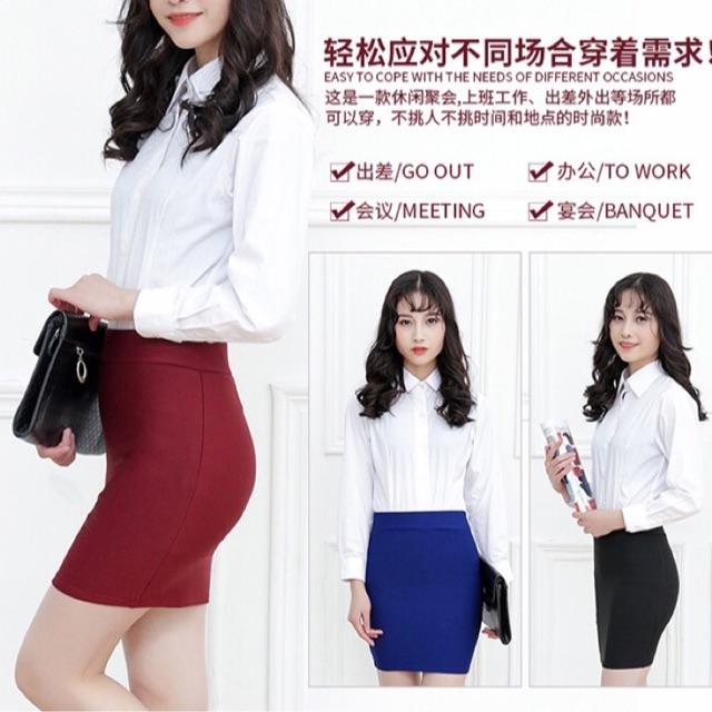 Chân váy ngắn xẻ sau ôm dáng dài 40-50cm
