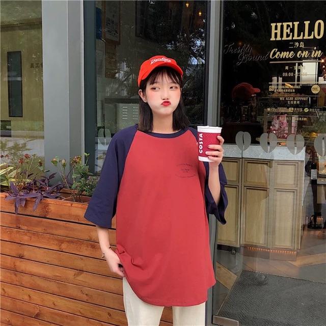 Áo thu phối màu ngọt ngào phiên bản lớn in áo thun ngắn tay nữ 2019 màu sắc phù hợp hè