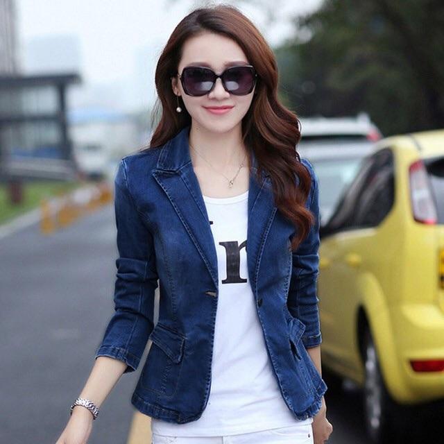 AK1427-áo khoác jean giả vest phối túi