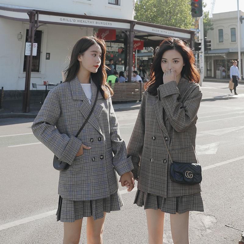Bộ Áo Khoác Vest + Chân Váy Xếp Ly Kẻ Sọc Kiểu Hàn Quốc Thời Trang Xuân Thu 2020